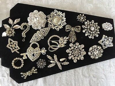 Vintage Brooch Pin Lot Of 19 Clear Rhinestones Beautiful Estate Pieces lot8.1517