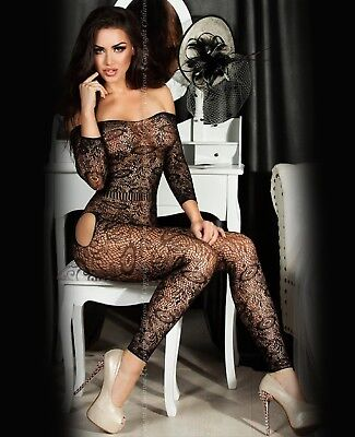 BODY NERO SEXY TUTINA ADERENTE BODYSTOCKING Catsuit Intimo Donna Teddy