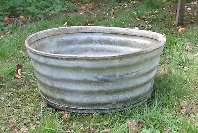 Vintage Galvanised Corrugated Tub 47 x 20 cm Diameter Garden Planter