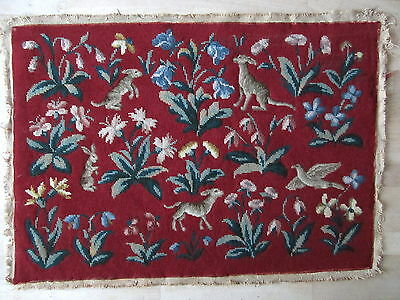 "Vintage Tapestry Panel Needlepoint petit point country house upholstery 25""x17"""