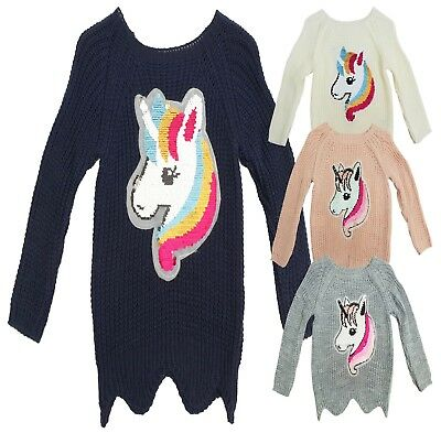 Girls  Coasy  Unicorn Cable-Knit Textured Brush Changing Sequins Sweater Jumper