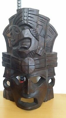 Mayan Aztec Tribal Wood Wooden Mask  Standing Or Wall Hanging Carved
