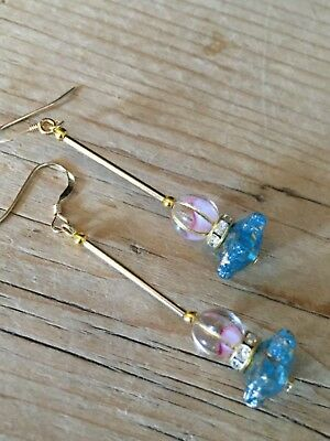 Art Deco vintage style czech glass  + rhinestone rolled gold earrings