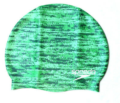 Speedo Remix Adult Silicone Swim Cap, Elastomeric Fit, Green, One Size