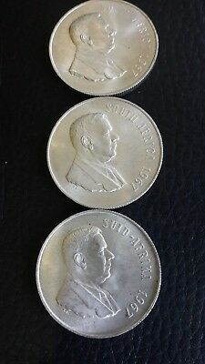 1967 South Africa Silver R1 - (x3 Coins)