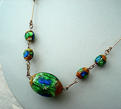 ART DECO NECKLACE GREEN PEACOCK OVAL FOIL BEADS Rolled Gold WIRE VINTAGE 1930s