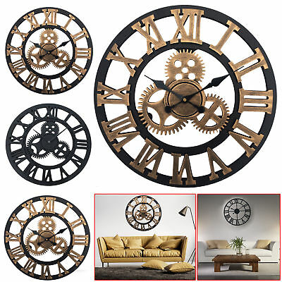 Large Traditional Vintage Style Wall Clock Iron Roman Numeral Skeleton Decor