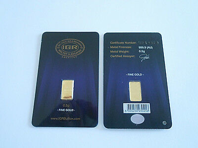 Gold 1/2 Gram New Sealed Solid 24K Pure Gold Bar Invest