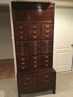 YAWMAN & ERBE MODEL Numerous Drawers TIGER OAK FILE CABINET- LEGAL SIZED-RARE