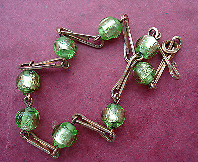 ART DECO BRACELET LIME PERIDOT GREEN FOIL BEADS Rolled Gold WIRE Vintage 1930s