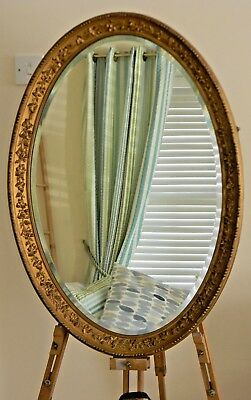 Large Oval Decorative Vintage Bevelled Glass Gilded Wall Mirror Circa 1900's
