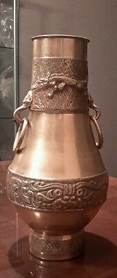 Vintage Chinese Brass Vase with Dragon Decoration