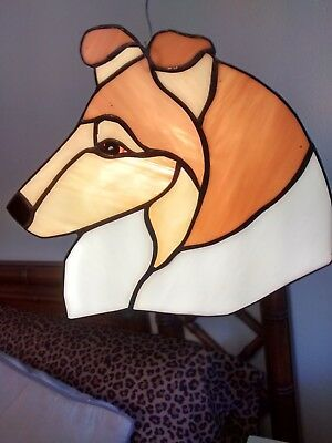 Stained Glass Dog Head - Collie - Rough- Sable