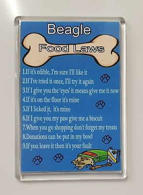 BEAGLE FOOD LAWS/RULES Funny Fridge Magnet - Ideal Birthday/Xmas Gift/Present