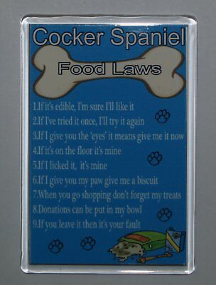 COCKER SPANIEL FOOD LAWS/RULES Funny Fridge Magnet - Ideal Gift/Present