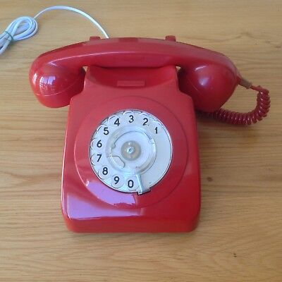 Vintage Gpo Rotary Dial 8746 Red Telephone