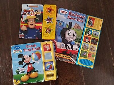 3 Play A Sound Hardback Books Fireman Same Thomas & Friends Disney Mickey Mouse