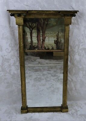 Antique 19th C American Federal Carved Mirror Gold Painted with Forest Painting