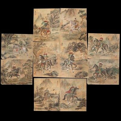 10 Antique Chinese Gouache Painting on Cork Paper