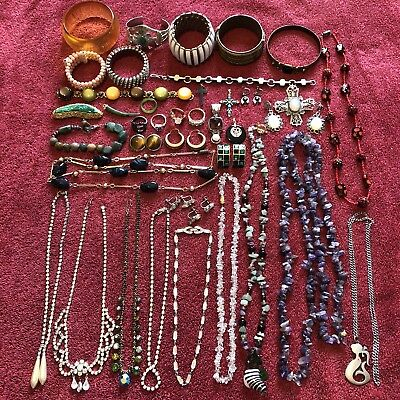 Lot Vintage Estate Jewelry Wearable 40 Pieces Necklaces Bracelets Earrings Pins