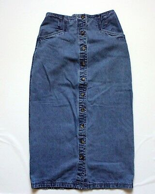 a399e9c7f5 Vintage 80s 90s High Waisted Skirt Blue Denim Mid-Calf Size 6 by Style &