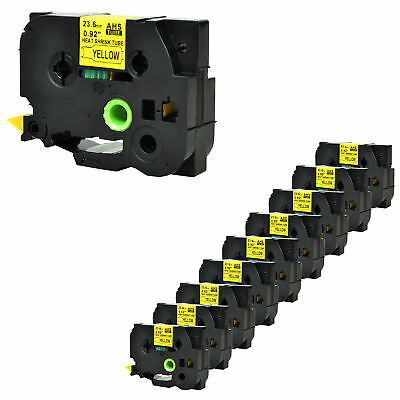 """10PK Heat Shrink Tube Black on Yellow Tape for Brother HSe651 PT-E300 0.93"""" 1.5m"""