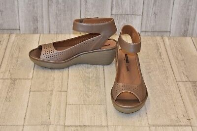 f7e91db82ea CLARKS REEDLY SALENE Women Perforated Wedge Size 8M Pewter Bronze ...