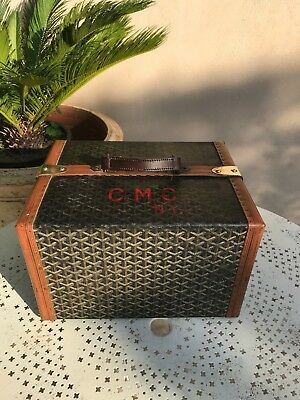 RARE Book Trunk Goyard vintage with initials - Complete ( bag wallet trolley )
