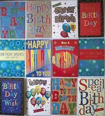 Pack Of 12 Male Contemporary Birthday Cards 2 Designs 499