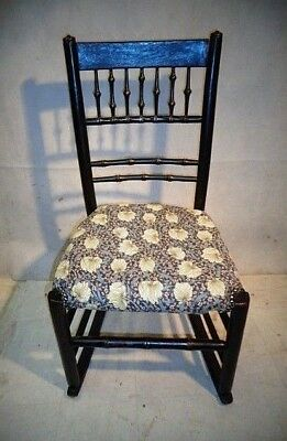 Antique Victorian Arts & Crafts Ebonised Rocking Chair With William Morris Uphol