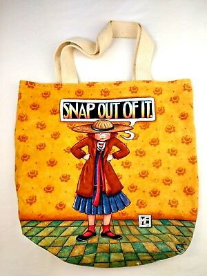 "Mary Engelbreit Canvas Tote Bag Snap Out Of It Carry All Shopping 16"" X 14"""