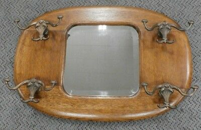 Antique Solid Oak Hat Rack Hall Tree Mirror- Beveled Glass