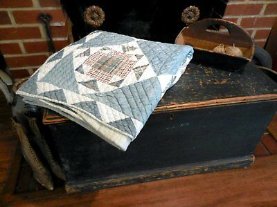 AAFA Blue and White Calico Quilt Antique Pieced Quilt Hand Sewn