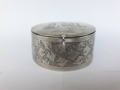 A Solid Silver Trinket Box With Hinged Lid