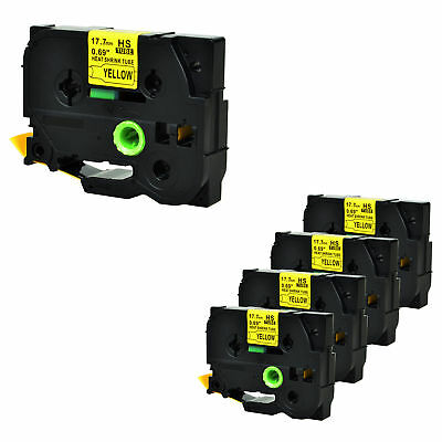 """5PK Heat Shrink Tube Black on Yellow Label Tape for Brother HSe641 0.7"""" x 4.92ft"""