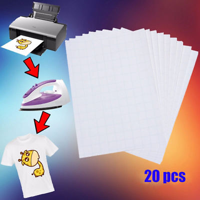 20X Iron On T-shirt Light Fabric A4Heat Transfer Paper Kit for Inkjet Printer CL