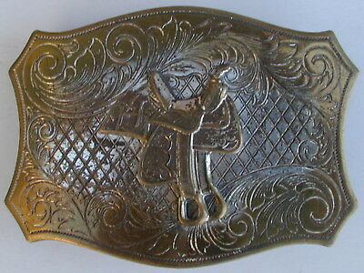 Old Original Cowboy Silver & Brass Trophy Buckle 1950's Very Rare