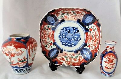 Collection 3x Antique Imari Pieces Comprising 2x Small Vases & 1x Square Plate