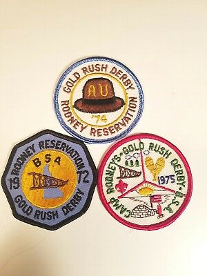Lot of 3 vtg BOY SCOUT BSA Rodney Reservation Gold Rush Derby Patches 72, 74, 75