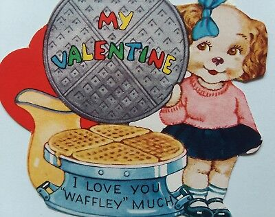 1940s VALENTINE Waffle Iron I LOVE YOU WAFFLEY MUCH Vtg Greeting CARD