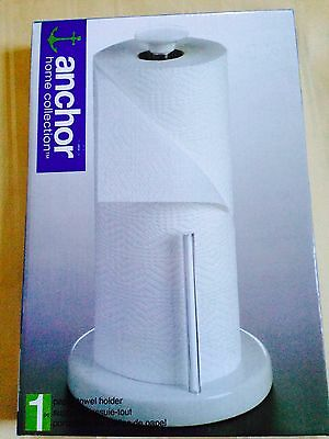 NIB Anchor Paper Towel Stand White Ceramic & Crome Holder kitchen Towel Holder