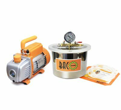 BACOENG 6.8 Liter Vacuum Chamber Kit with 3 CFM Single Stage Vacuum Pump 3 Pi...
