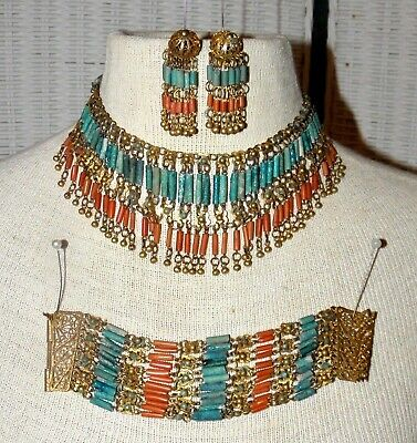 Vtg Egyptian Revival Turquoise Coral Faience Bib Necklace, Bracelet & Earrings