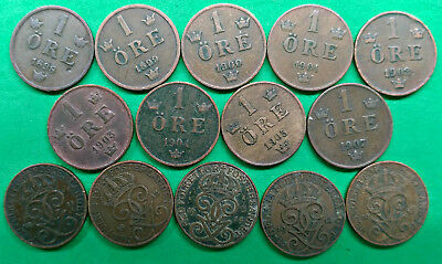 Lot of 14 Different Old Sweden 1 Ore Coins 1898-1916 !!
