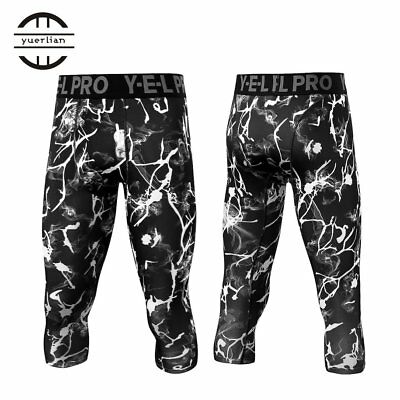 Yuerlian Men High Elastic Capri Pants Floral Printed Fitness Pant RG