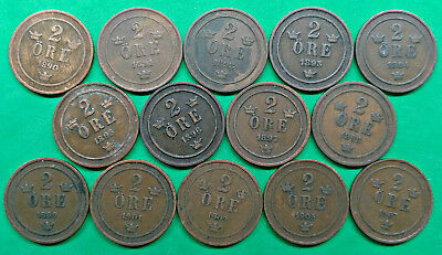 Lot of 14 Different Old Sweden 2 Ore Coins 1890-1907 !!