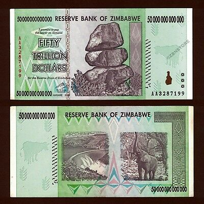 50 Trillion Dollars Zimbabwe Bank Note,  AA 2008 Authentic Circulated Currency