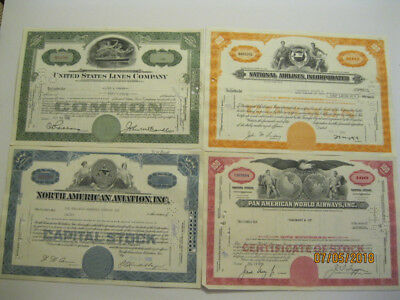 Lot Of 4 Stock Certificates- 3 Airline Companies+ 1 Steamship Company