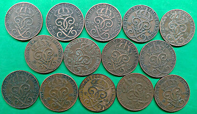 Lot of 14 Different Old Sweden 2 Ore Coins 1909-1928 !!