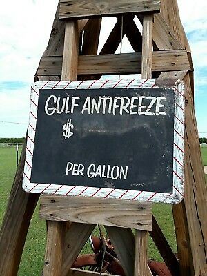 Gulf Oil Can Antifreeze Sign 1950's Non Porcelain Gas Station Gulfpride NICE!!!